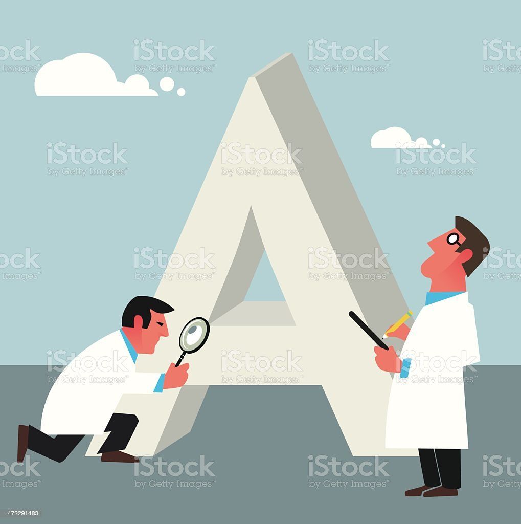 Specialists inspecting a font royalty-free stock vector art