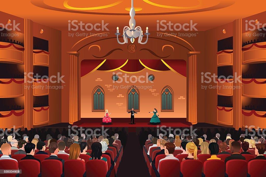 Spectators inside a theater vector art illustration