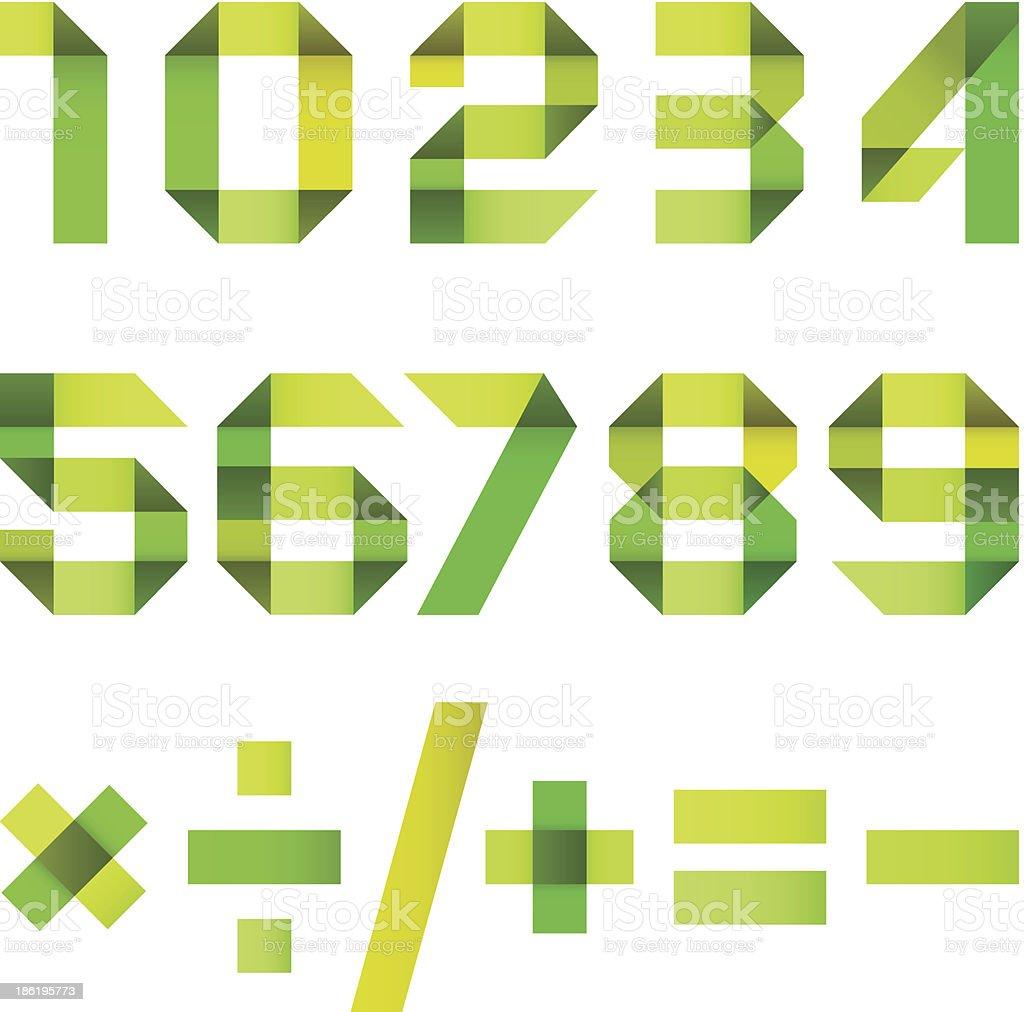 Ширина буквами, сложенный из бумажной ленты-арабские цифры векторная иллюстрация