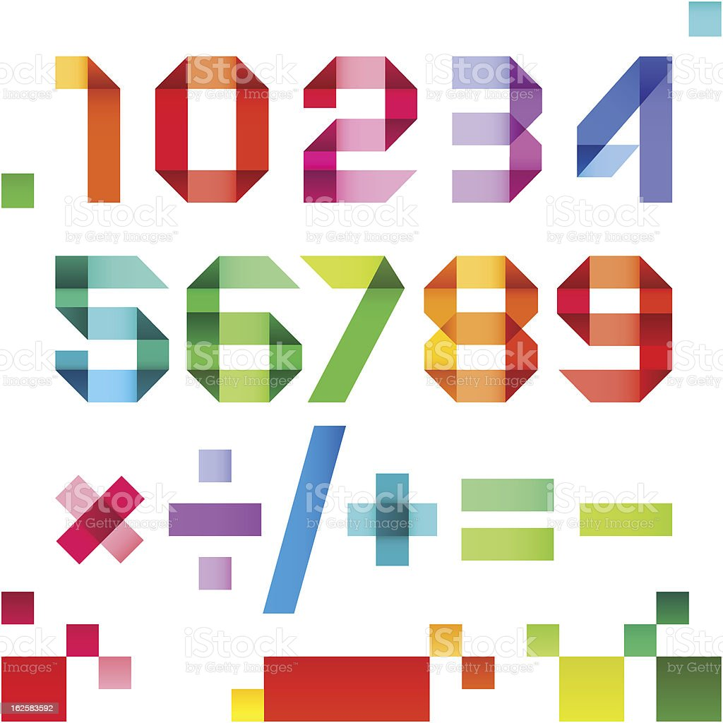 Spectral numbers folded of paper ribbon colour - Arabic numerals royalty-free stock vector art