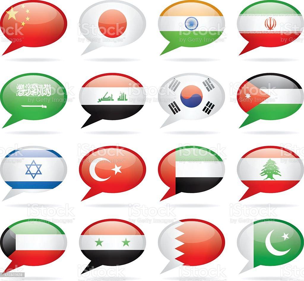Speech Bubble Asia Flags royalty-free stock vector art