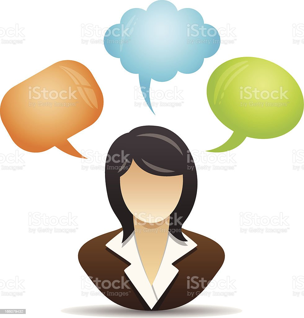Speech bubble - Business woman royalty-free stock vector art