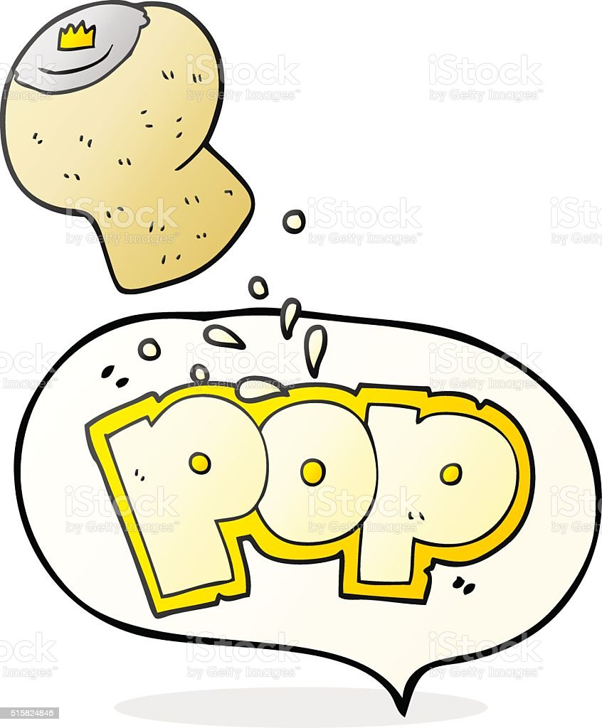 speech bubble cartoon champagne cork popping vector art illustration