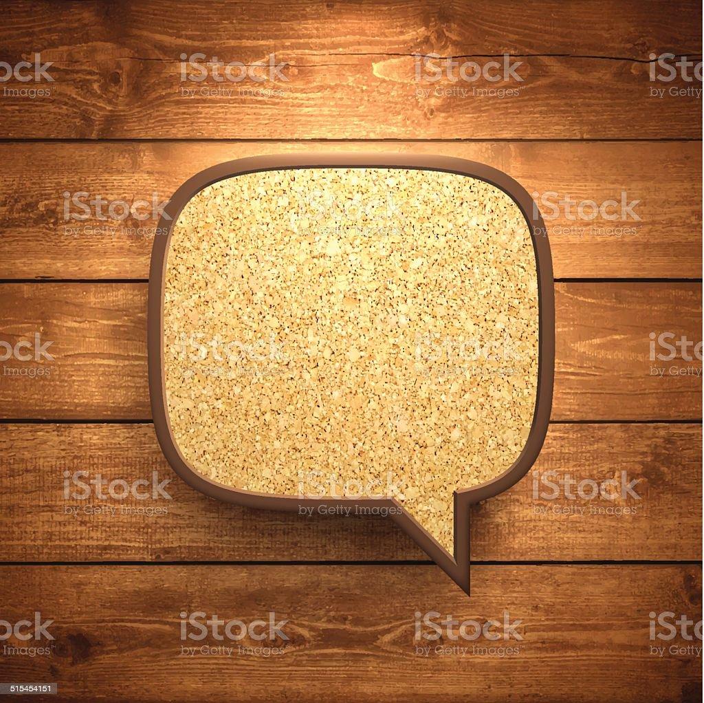 Speech Bubble Cork on Wooden Background vector art illustration