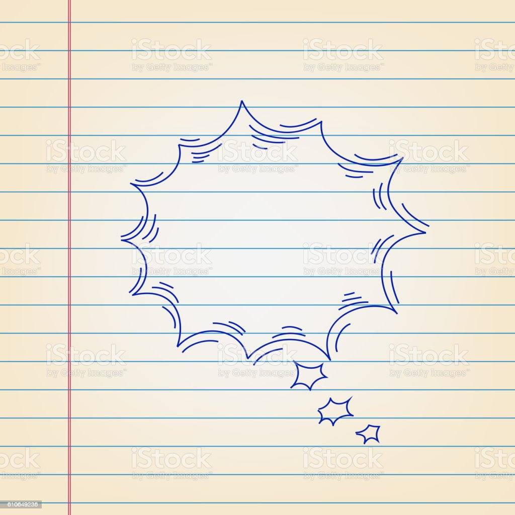 Speech bubble Drawing on Ruled paper vector art illustration