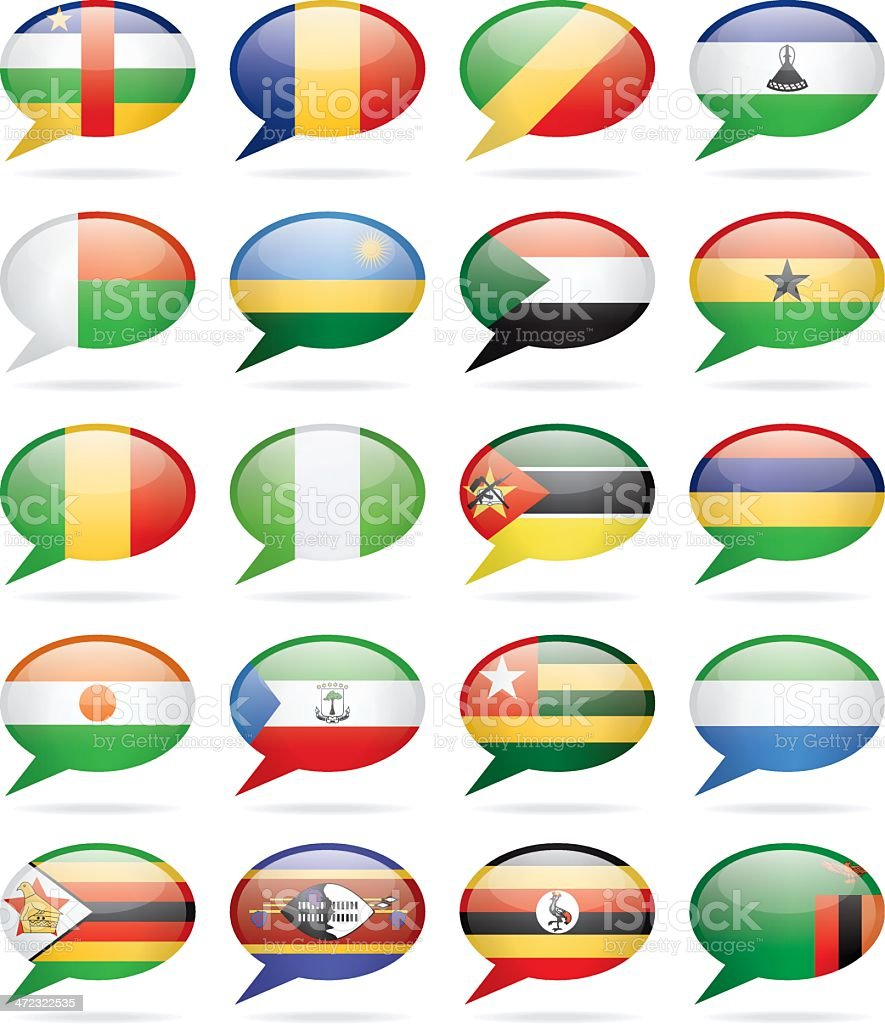 Speech Bubble Flags - Africa royalty-free stock vector art