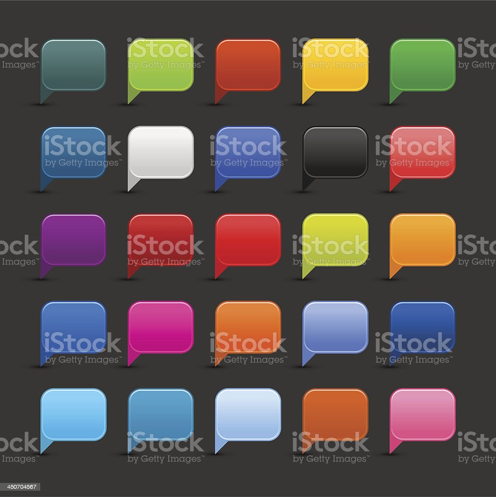 Speech bubble icon empty rounded square button gray background royalty-free stock vector art
