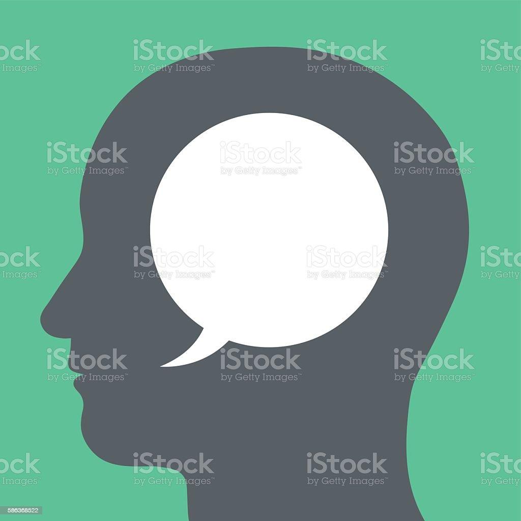 Speech bubble inside a human head inner speech vector art illustration
