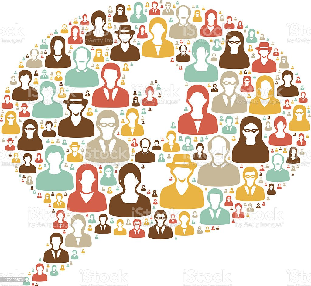 Speech bubble made of people vector art illustration