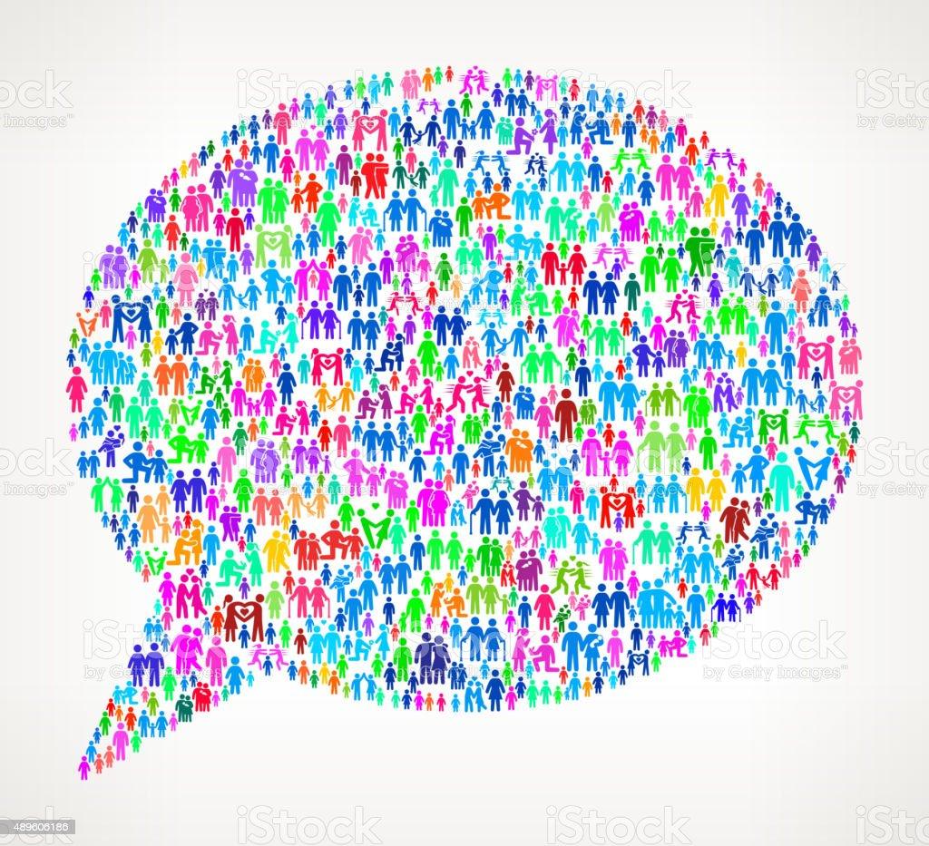 Speech Bubble on vector family pattern Background vector art illustration