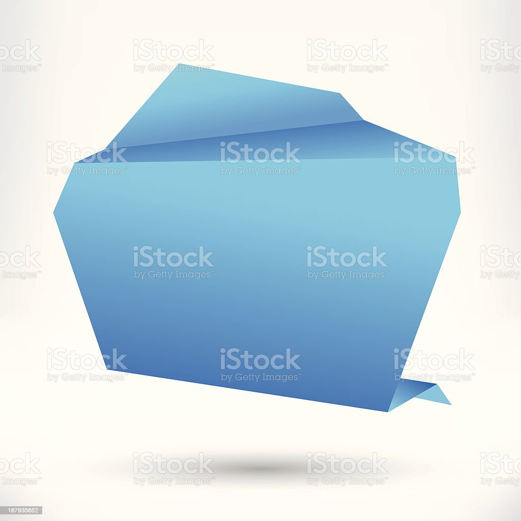 Speech bubble origami style. Blue. Vector abstract background. royalty-free stock vector art