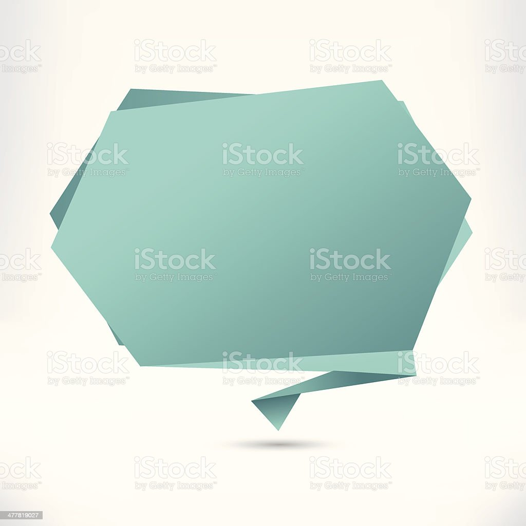Speech bubble origami style. Celadon. Vector abstract background. royalty-free stock vector art