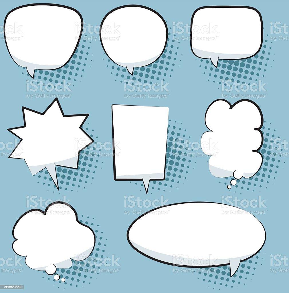 Speech bubble set vector art illustration