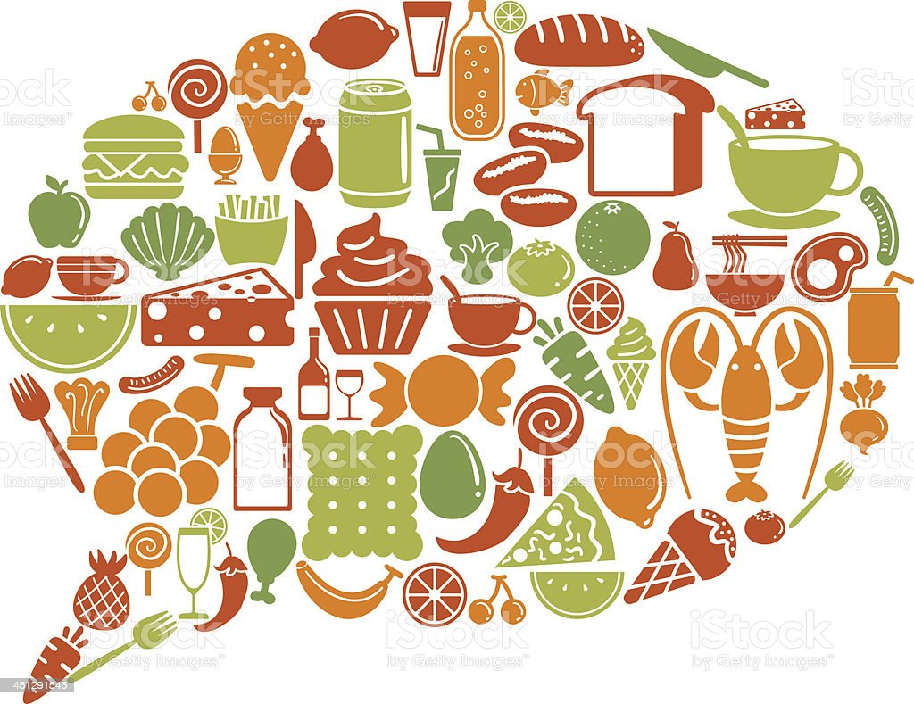 Speech bubble shape pattern with food icon royalty-free stock vector art