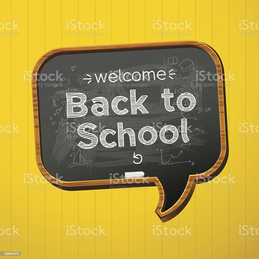 A speech bubble shaped blackboard saying 'back to school' vector art illustration