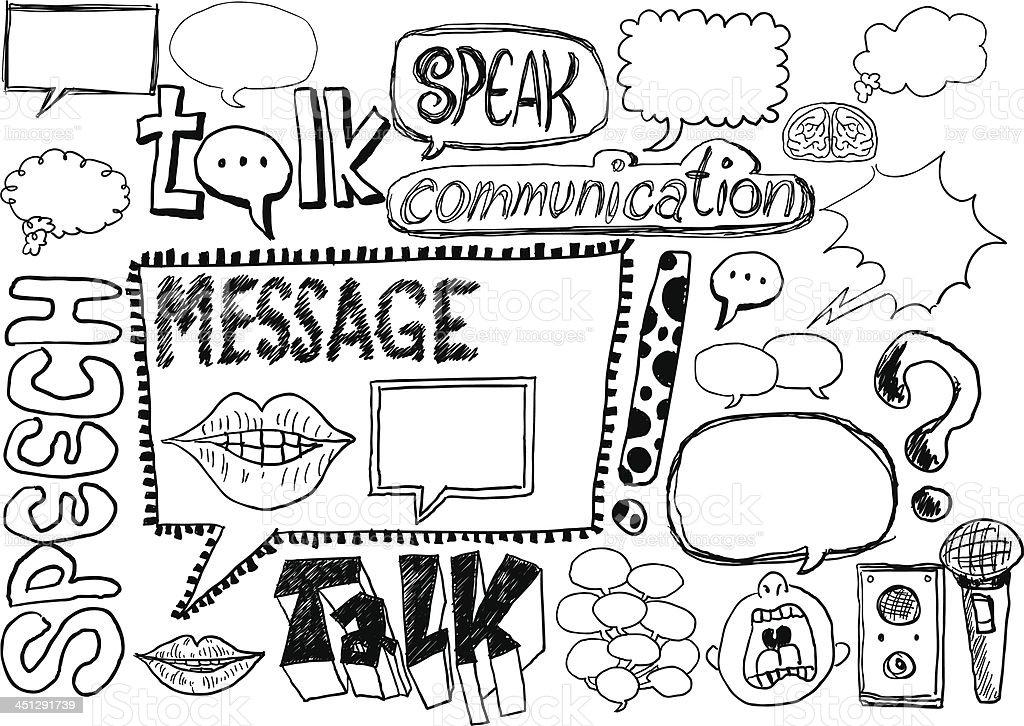 Speech bubble sketch collection vector art illustration