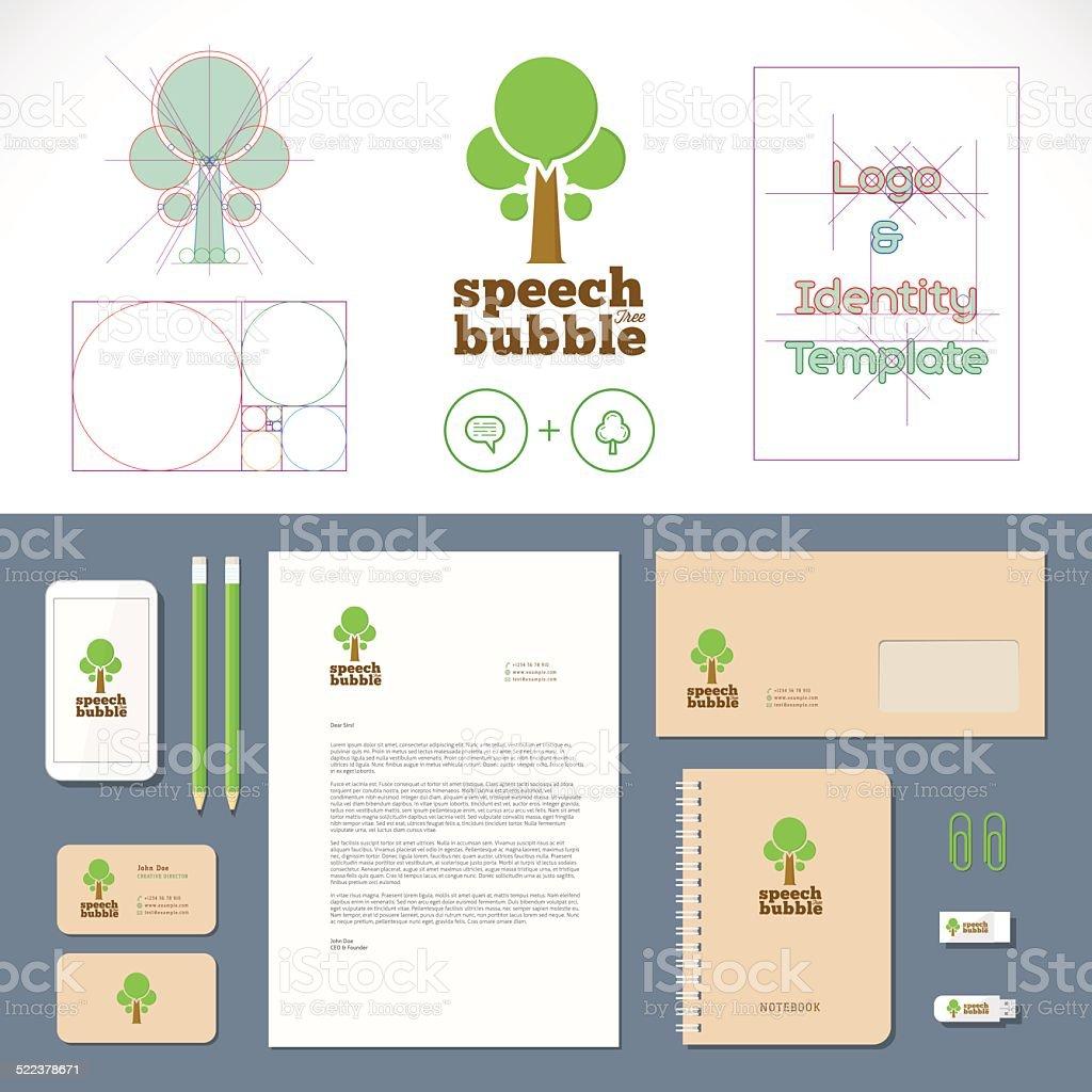 Speech Bubble Tree Logo and Identity Template vector art illustration