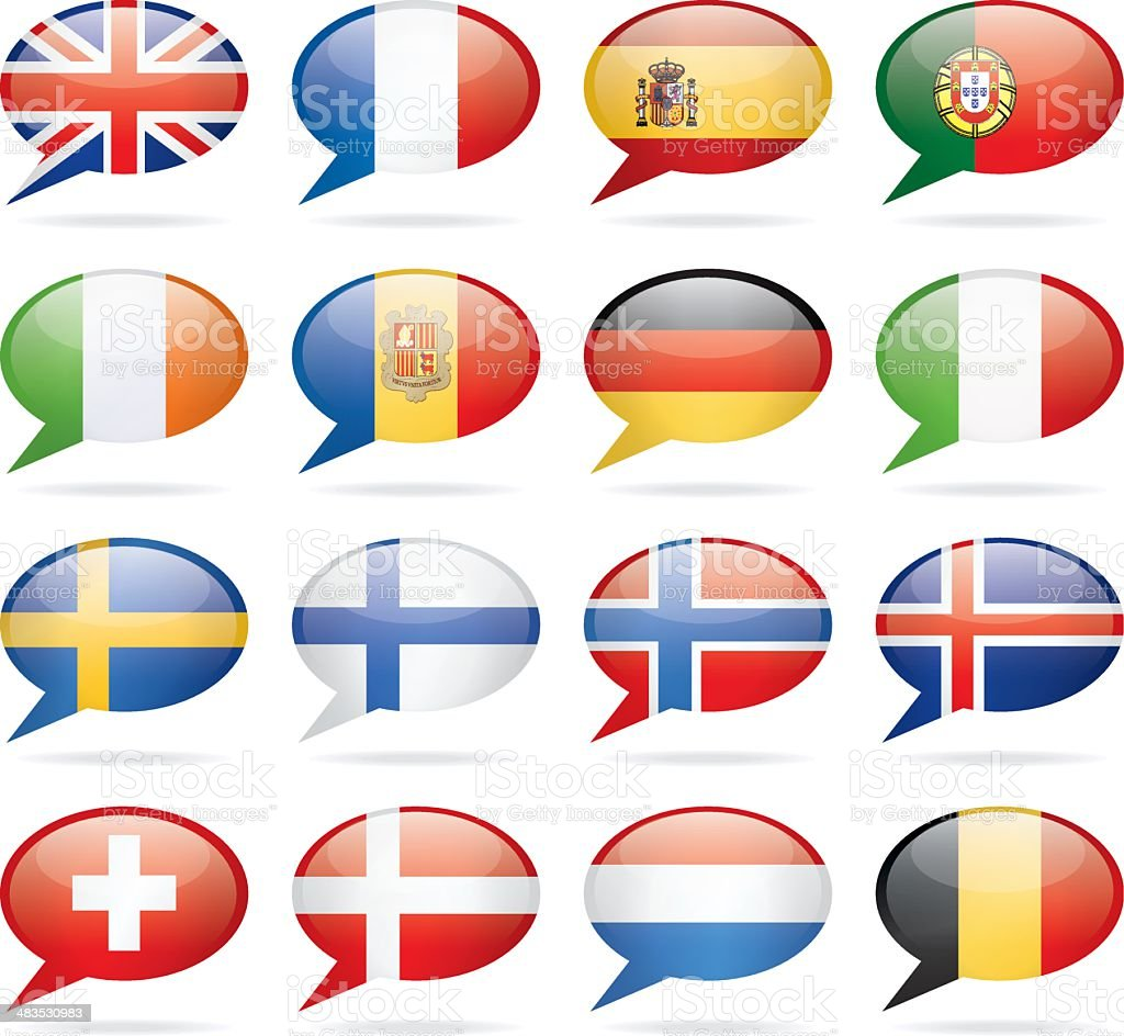 Speech Bubble Western and Nothern Europe Flags vector art illustration