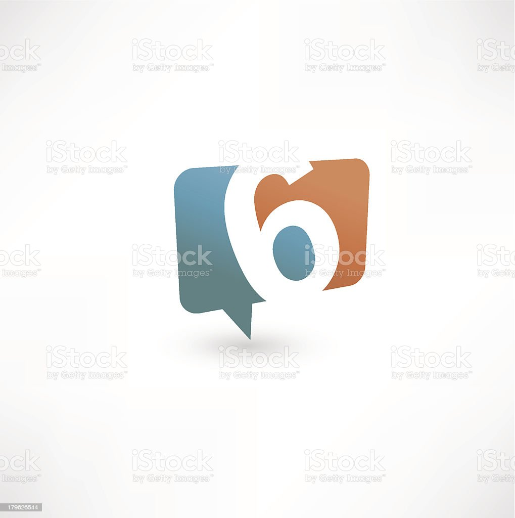 Speech Bubble With Number 6 royalty-free stock vector art