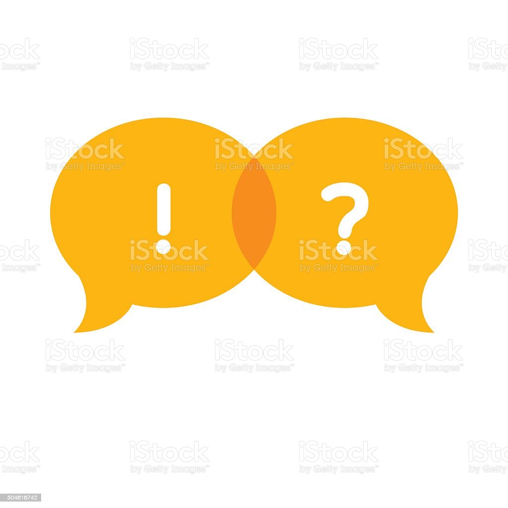 Speech Bubble with question mark and exclamation mark vector art illustration