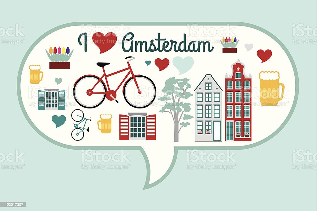 Speech bubble with things you would associate with Amsterdam royalty-free stock vector art