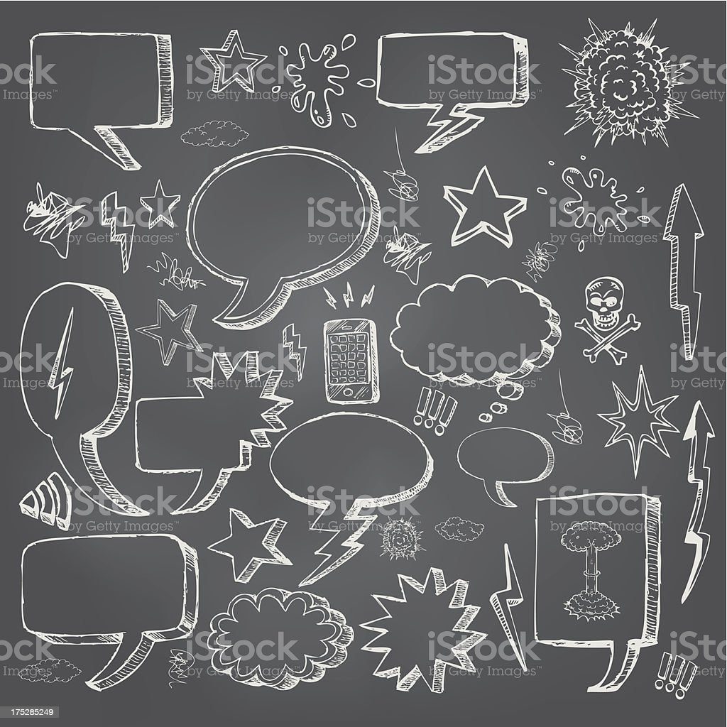 Speech bubbles doodles in black chalkboard vector art illustration