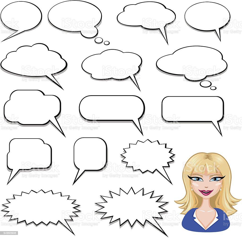 Speech bubbles for cartoon images vector art illustration
