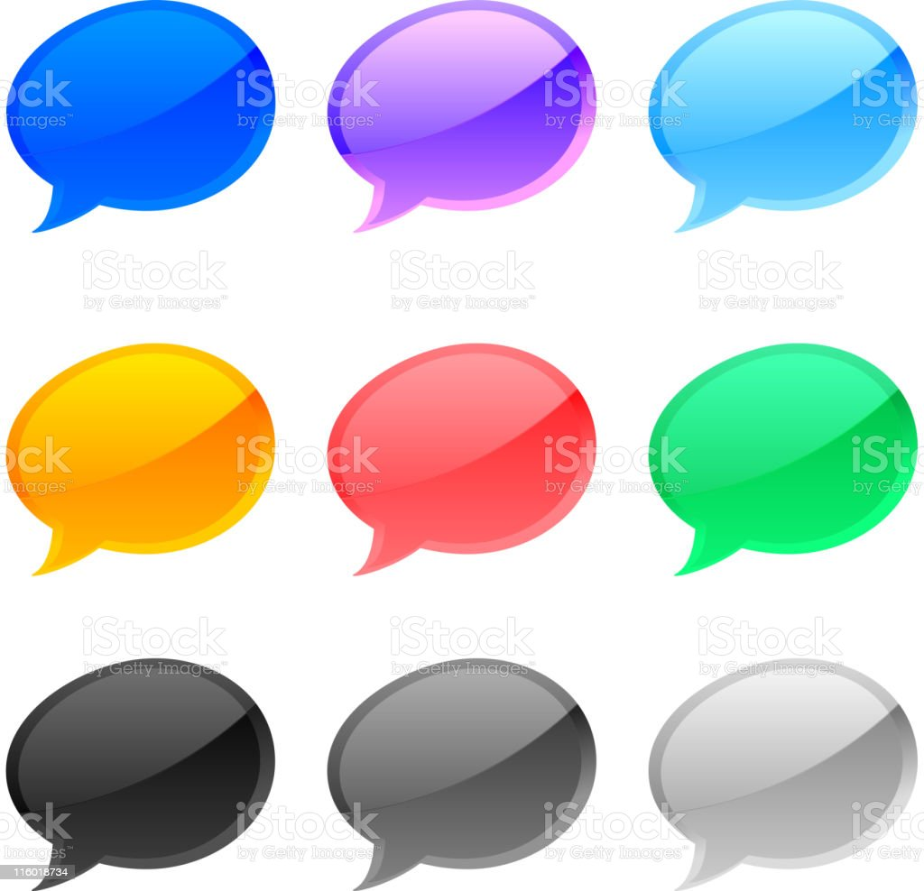 Speech bubbles in nine colors royalty-free stock vector art