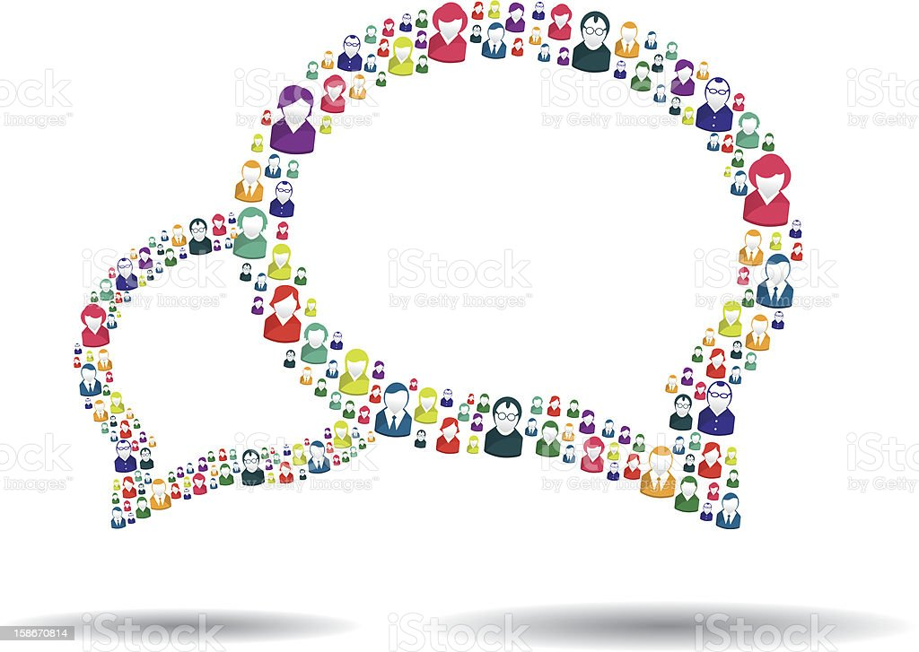 Speech bubbles made up of people icons showing communication vector art illustration