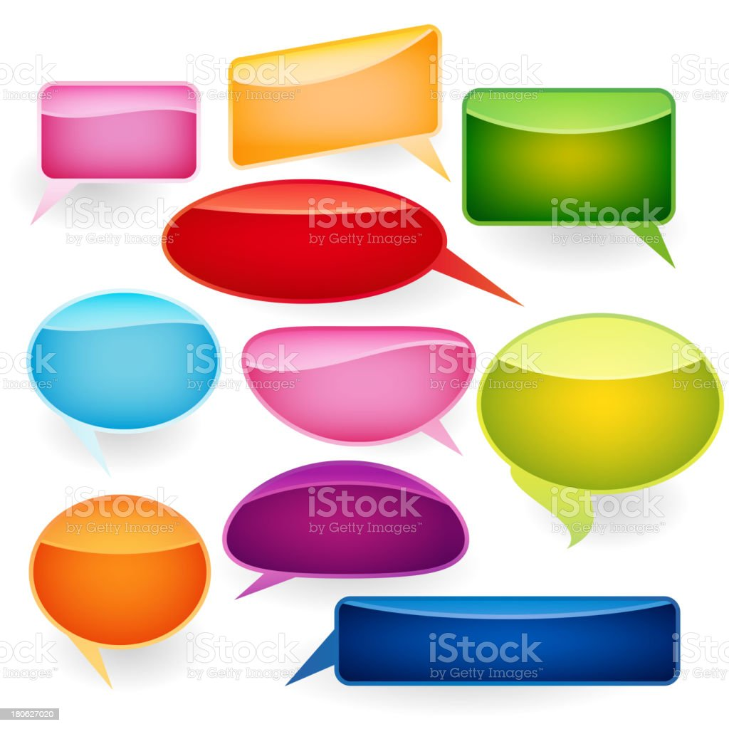 Speech bubbles of traditional and original forms. royalty-free stock vector art