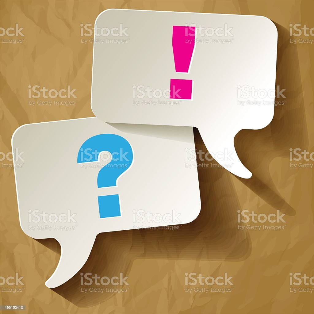 Speech bubbles question & exclamation on a brown background. vector art illustration