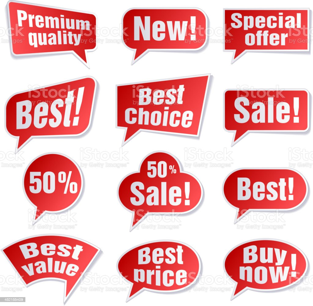 Speech bubbles, shopping buy and sale labels royalty-free stock vector art