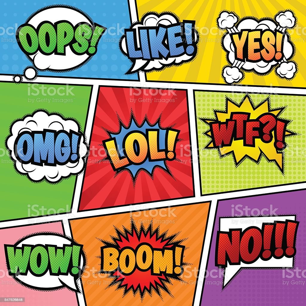 Speech bubbles tags at colorful background vector art illustration