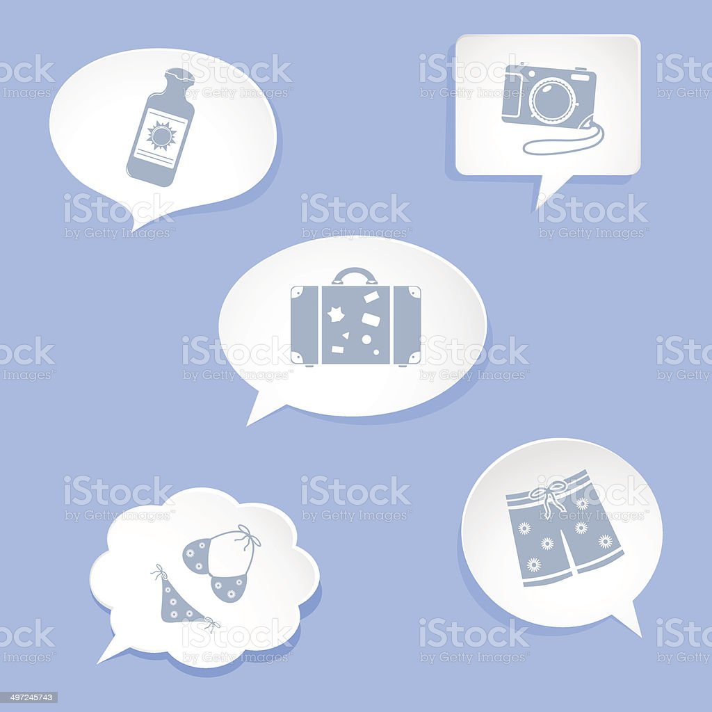 Speech bubbles, vacation accessories vector art illustration