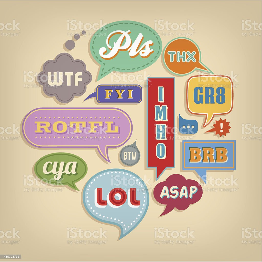Speech bubbles with common acronyms vector art illustration