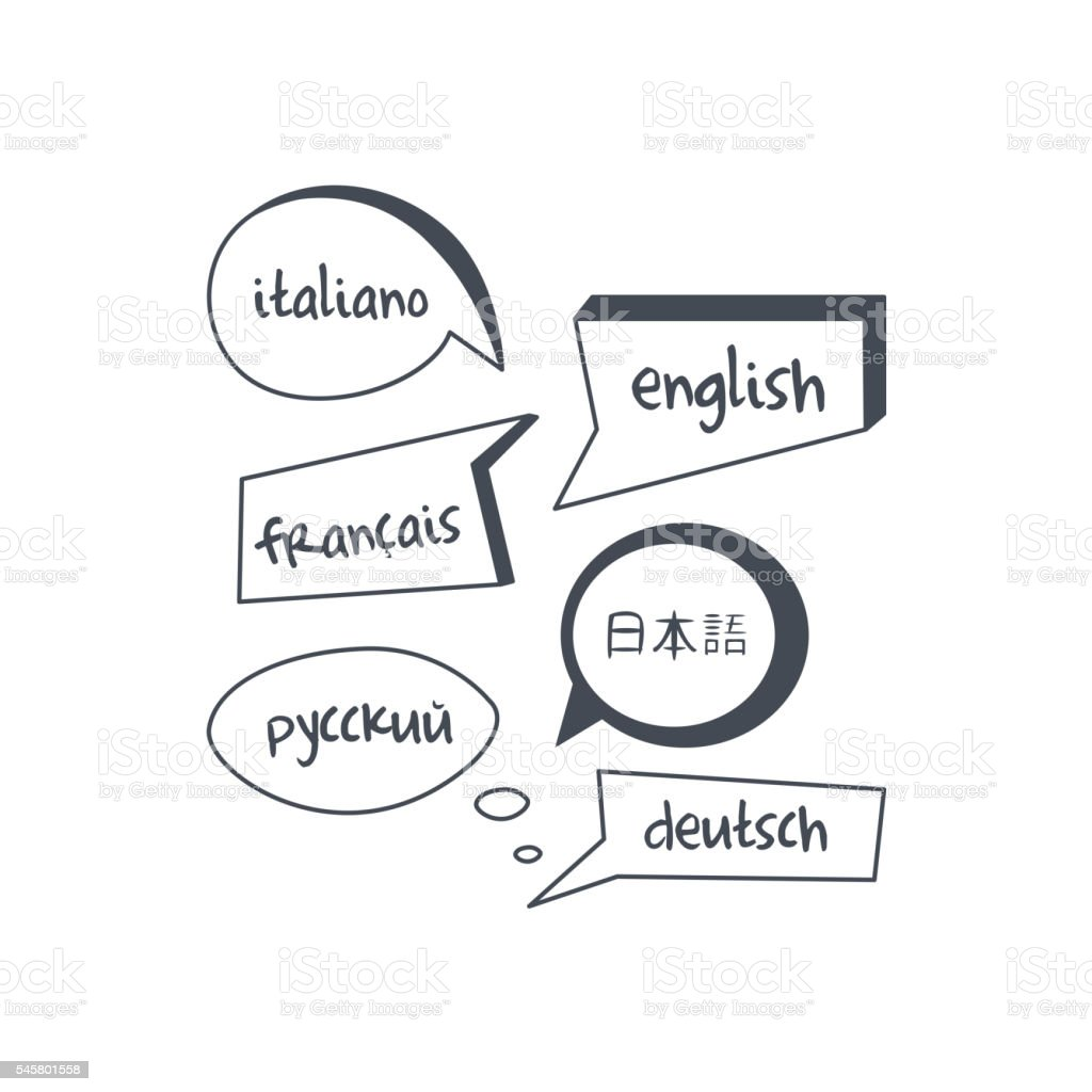 Speech Bubbles With Different Languages Texts vector art illustration