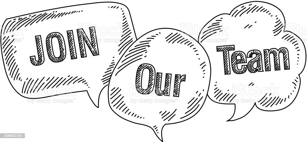 Speech bubbles with Join Our Team text Drawing vector art illustration
