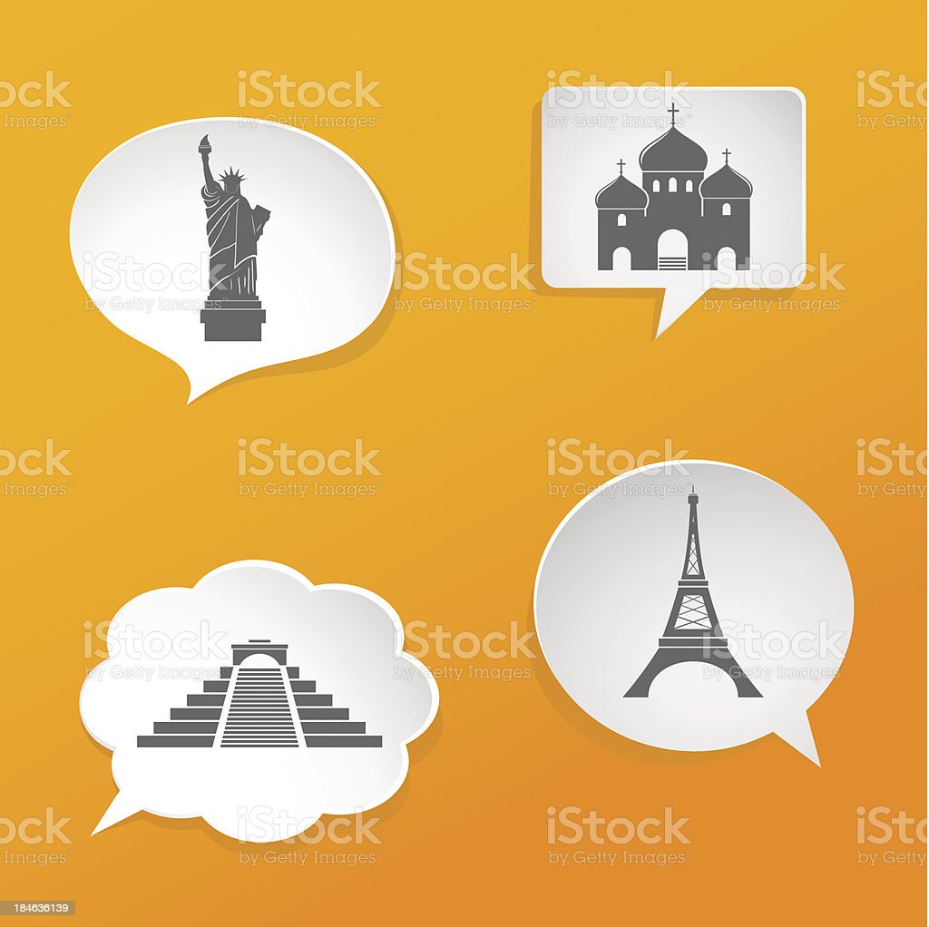 Speech bubbles with landmarks signs royalty-free stock vector art