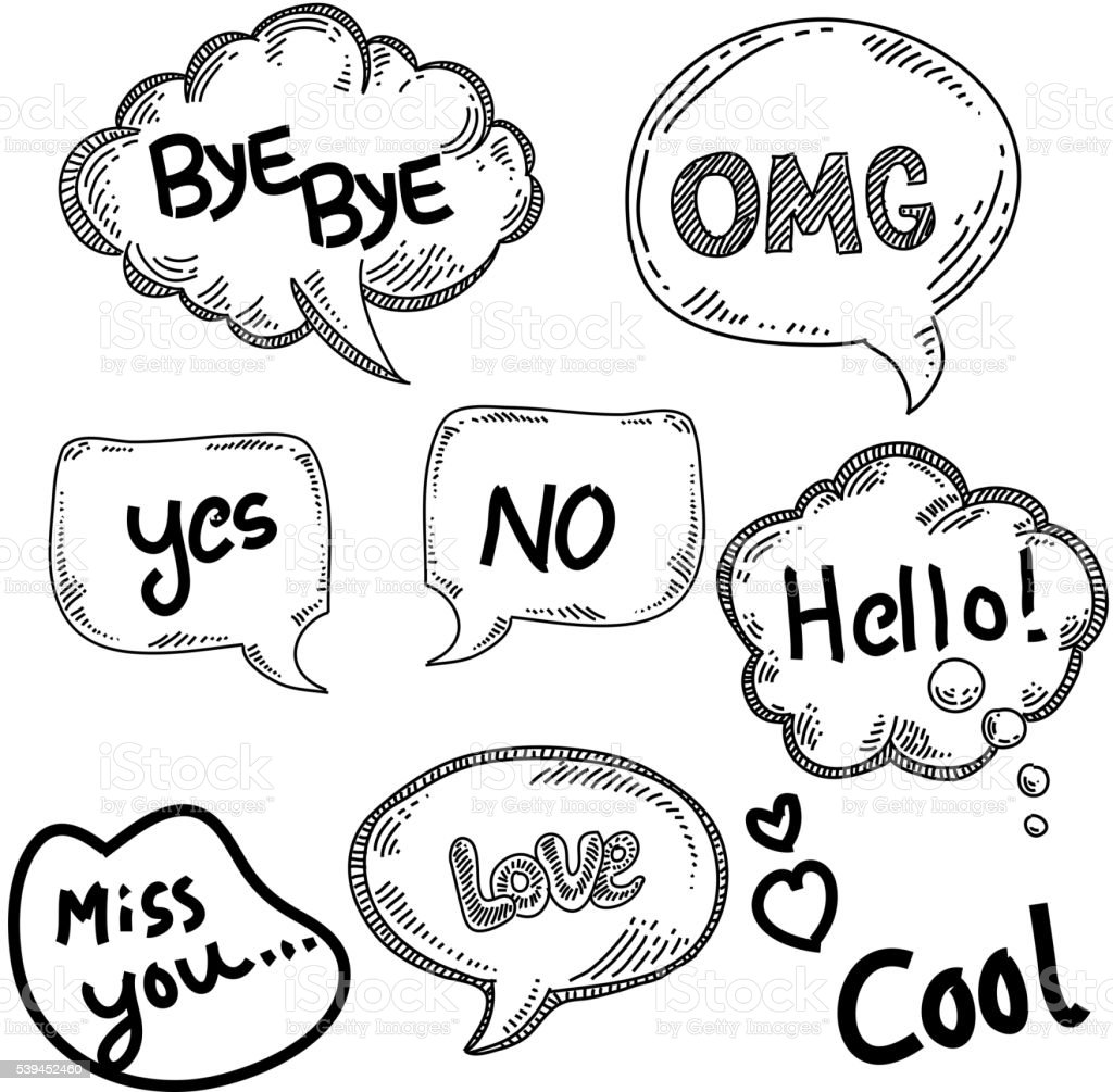 Speech bubbles with texts Drawing vector art illustration