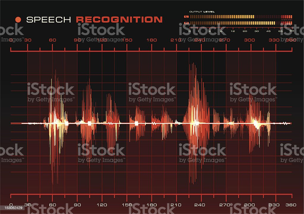 Speech Recognition, Red Waveform royalty-free stock vector art