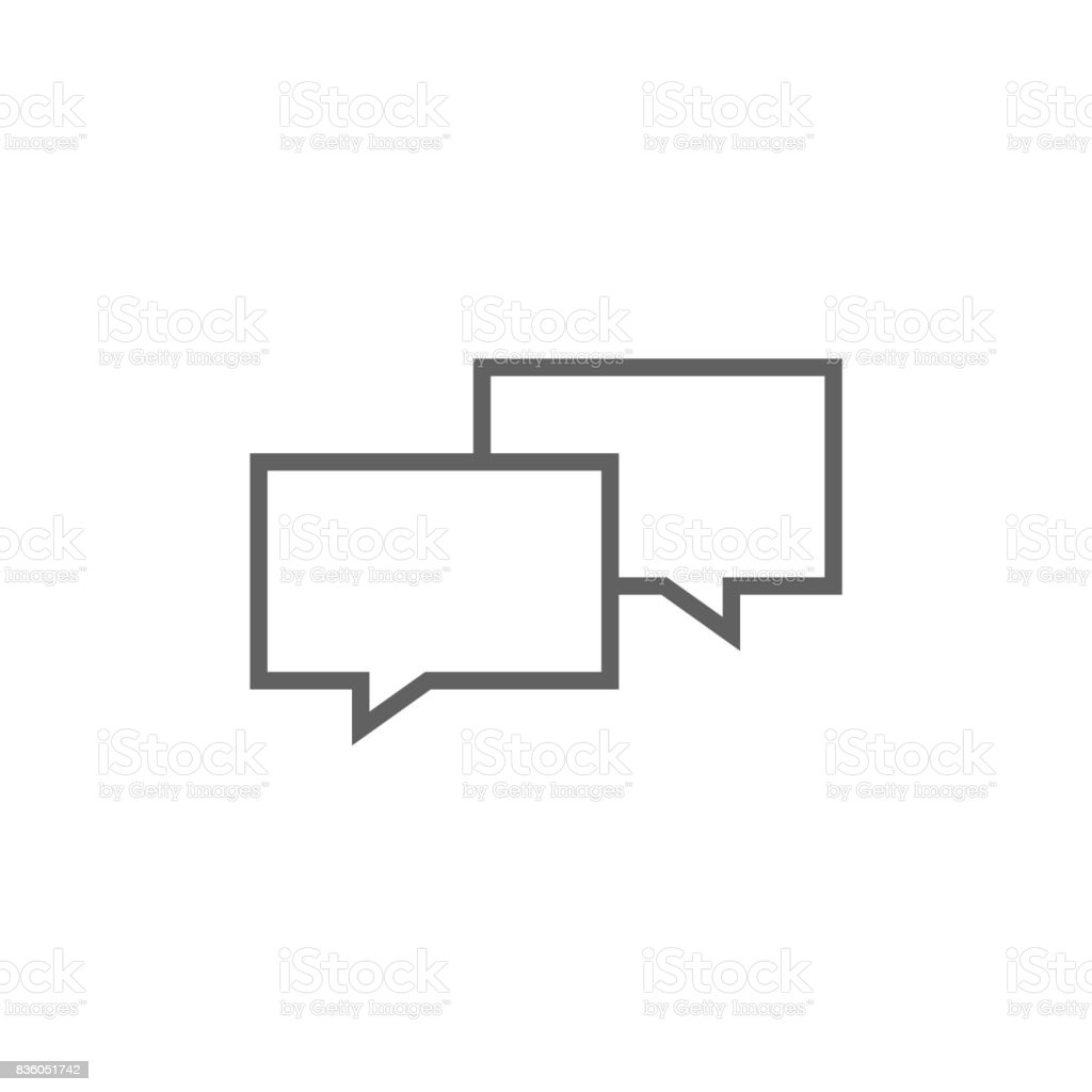 Speech squares line icon vector art illustration
