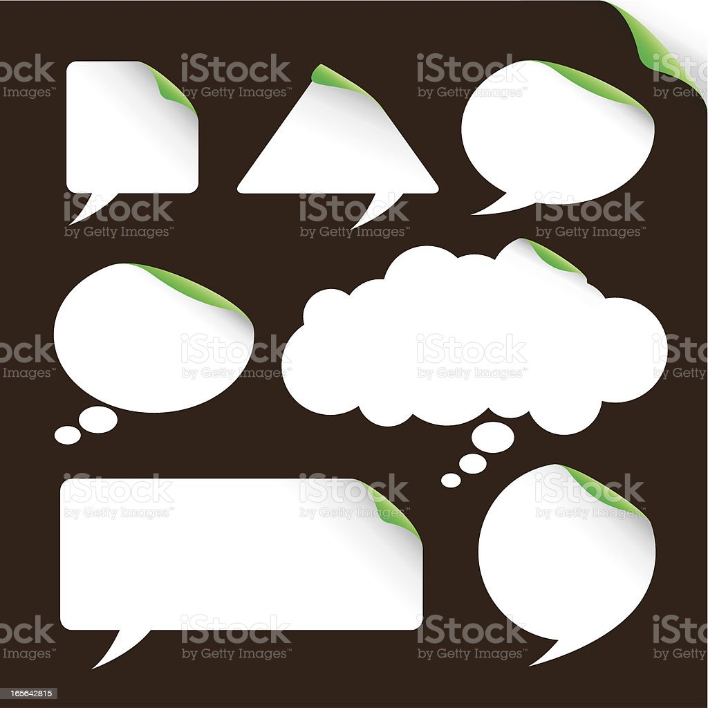Speech & thought bubble labels in white royalty-free stock vector art