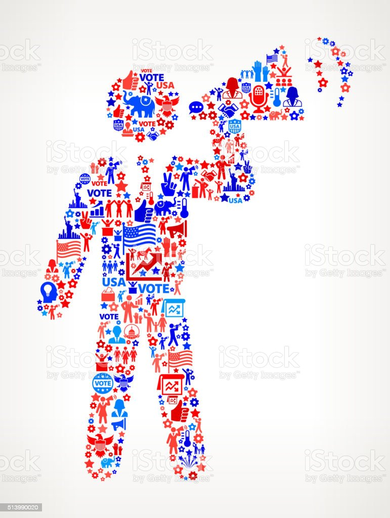 Speech Vote and Elections USA Patriotic Icon Pattern vector art illustration