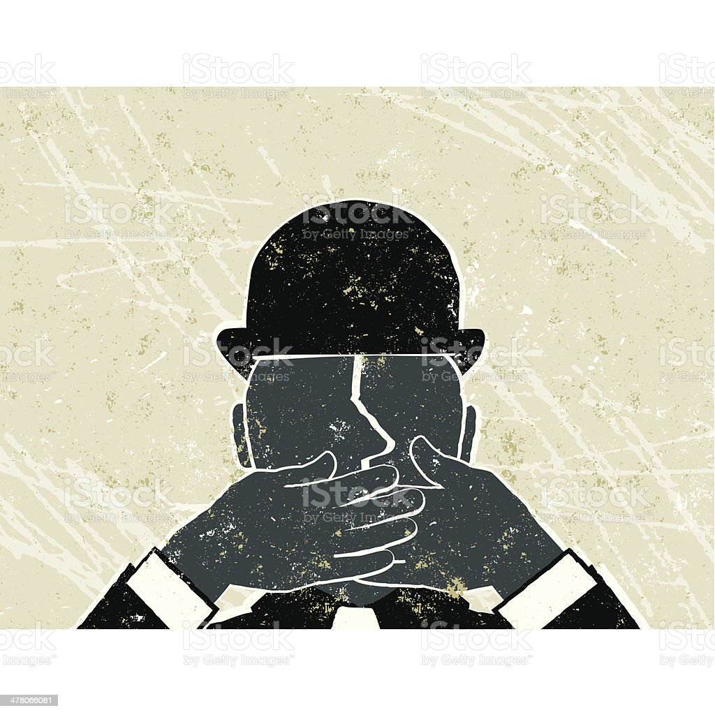 Speechless! Businessman with Hands Over His Mouth vector art illustration