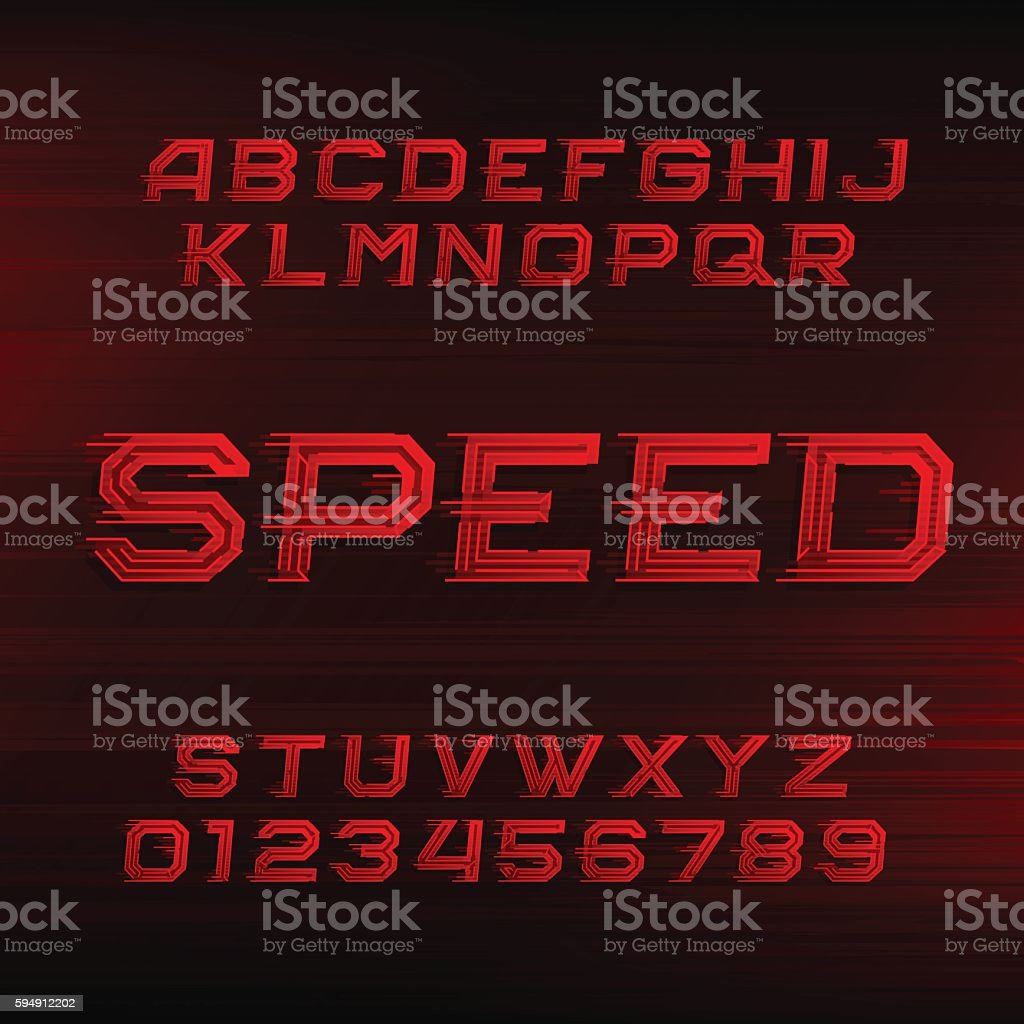 Speed alphabet font vector art illustration