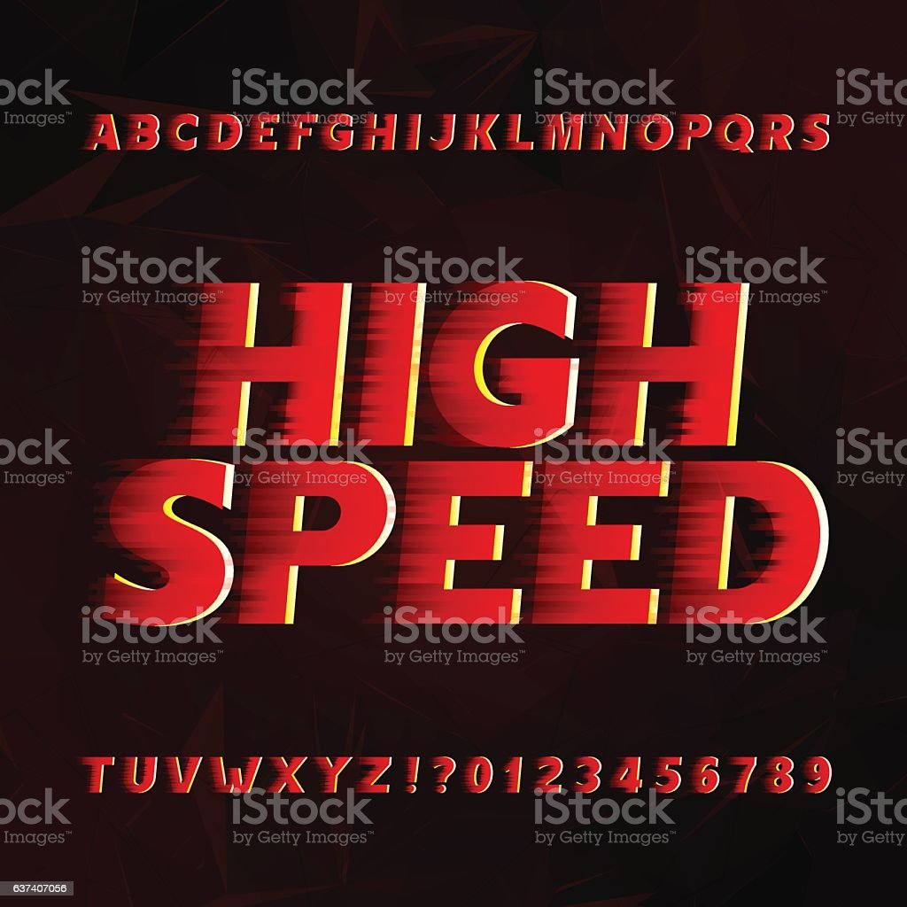 Speed alphabet vector font. vector art illustration