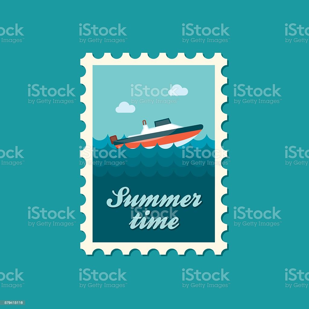 Speed boat stamp. Summer. Vacation vector art illustration