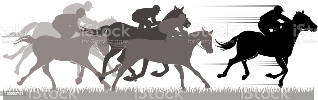 speed horse racing vector art illustration