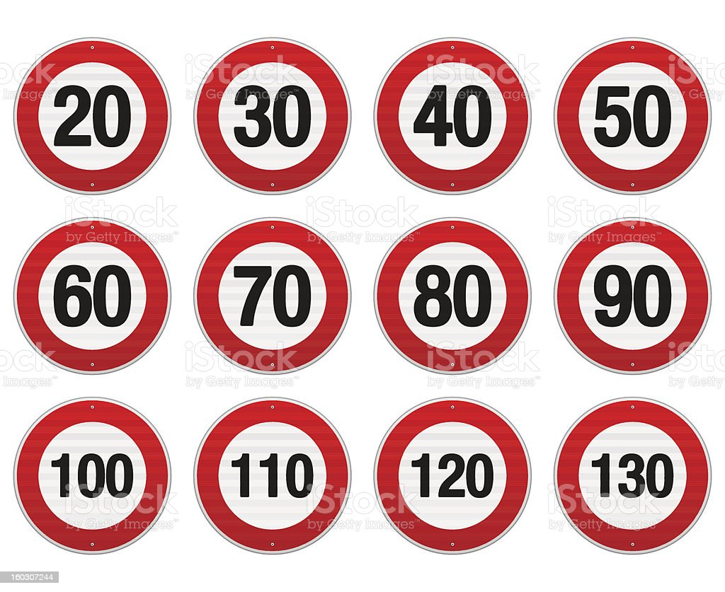 Speed limit sign set from 30-130 vector art illustration