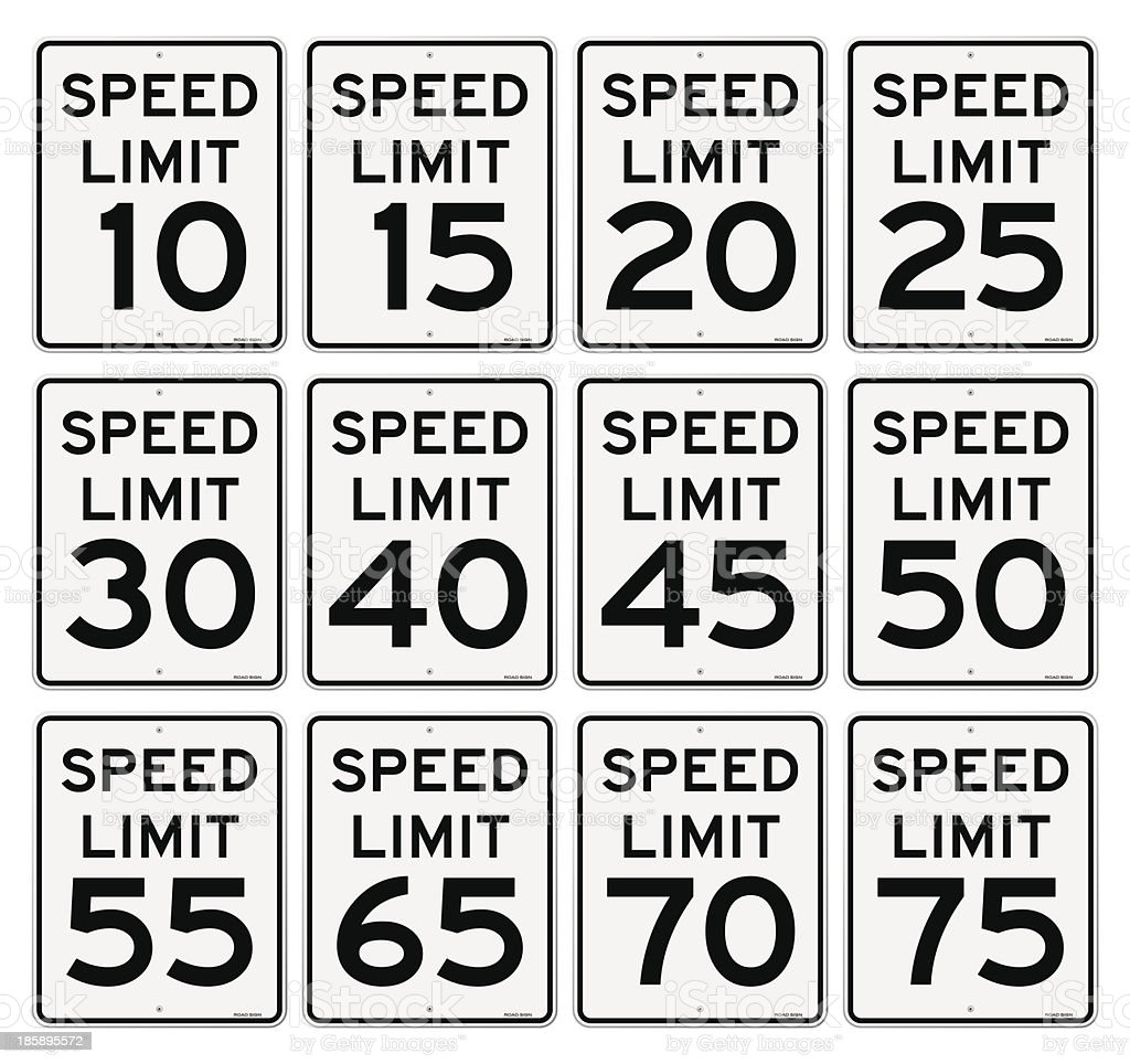 Speed Limit Sign Set royalty-free stock vector art